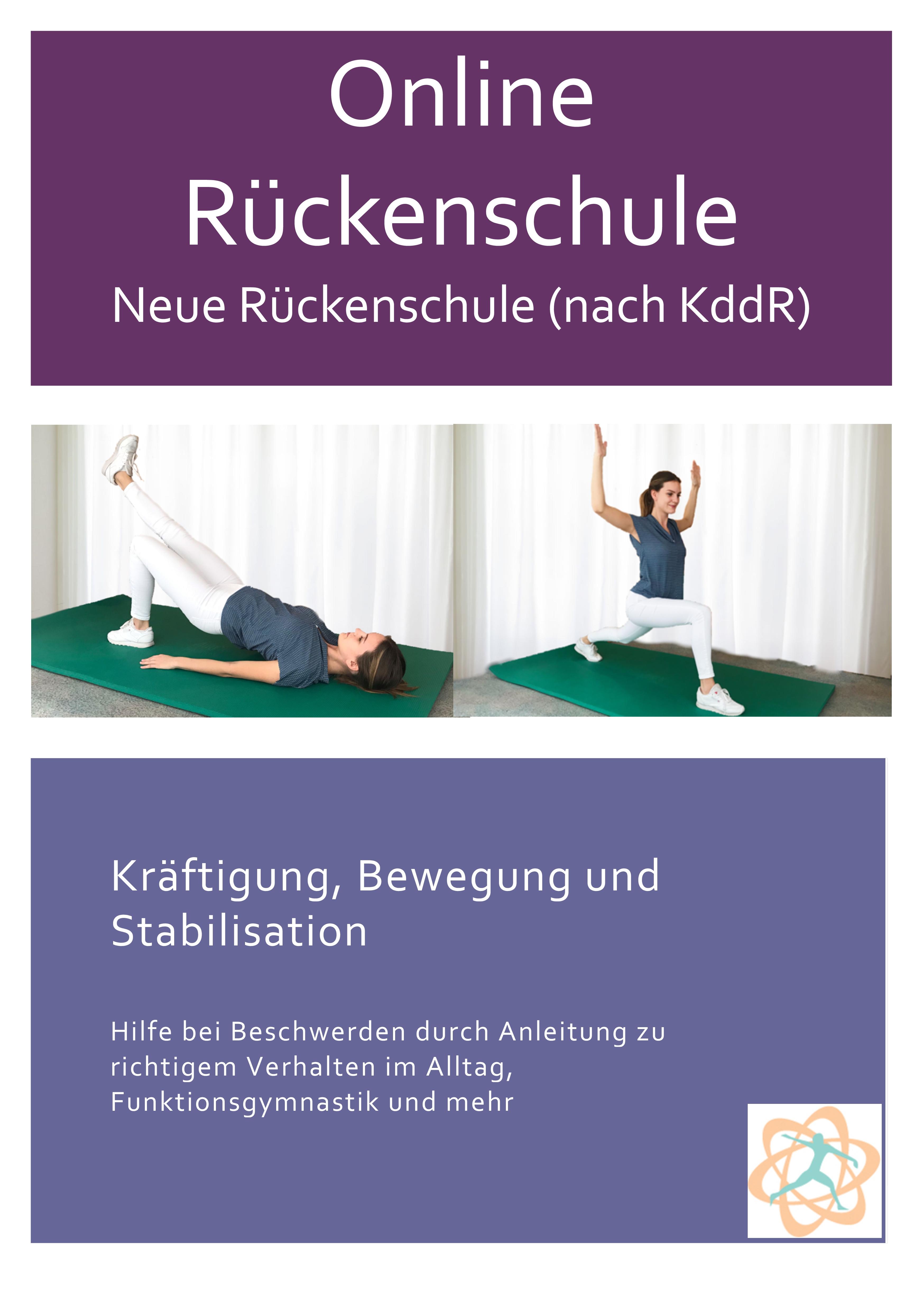 Das Konzept KddR-Neue Rückenschule hat drei übergeordnete Zielsetzungen: 1) Die Vermittlung von Wissen über Hintergründe und den Umgang mit Rückenschmerz, sowie den Aufbau individueller Verhaltens- und Handlungskompetenzen in Rückenschmerzepisoden. 2) Die Hinführung zu mehr eigenständig durchgeführter körperlicher und gesundheitssportlicher Aktivität und die Anbahnung einer überdauernden Bindung an diese. 3) Die Verbesserung der gesundheitsbezogenen Fitness bzw. die Vermeidung/Reduktion einer Dekonditionierung.  Der Kurs ist modular aufgebaut, d.h. in jeder Kurseinheit finden sich die Interventionsformen der Informationsvermittlung sowie körperliche Aktivität und körperliches Training, als auch Modulinhalte zum sozial-emotionalen Erfahren und Erlernen wie z.B. das Thema Entspannung im Handlungsfeld Rückengesundheit.  Kursnummer (beim Anbieter):1   Handlungsfeld(er): Bewegung  Präventionsprinzipien: Vorbeugung und Reduzierung spezieller gesundheitlicher Risiken durch geeignete verhaltens- und gesundheitsorientierte Bewegungsprogramme  Zielgruppe: nicht geschlechtsspezifisch Zielgruppe: Altersgruppe 18 bis 49 Jahre 50 bis 69 Jahre ab 70 Jahren  Beschreibung der Zielgruppe: Gesunde Versicherte mit Bewegungsmangel, Bewegungseinsteiger und -Wiedereinsteiger, mit speziellen Risiken im Muskel-Skelettsystem (z.B. Überwiegend sitzende, stehende oder kniende [Gärtner] Tätigkeit) jeweils ohne Behandlungsbedürftige Erkrankungen.   Ziele der Maßnahme Ziele der Maßnahme zur Erzielung von Gesundheits-, Verhaltens- und Verhältniswirkungen und der zu erlangenden Handlungskompetenz und Eigenverantwortung: sind sieben Kernziele anzusteuern   1  Stärkung physischer Gesundheitsressourcen (insbesondere die Faktoren gesundheitsbezogene Fitness, Ausdauer, Kraft, Dehnfähigkeit, Koordinationsfähigkeit, Entspannungsfähigkeit)   2  Stärkung psychosozialer Gesundheitsressourcen (insbesondere Handlungs- und Effektwissen, Selbstwirksamkeit, Stimmung, Körperkonzept, soziale Kompetenz und Einbindun